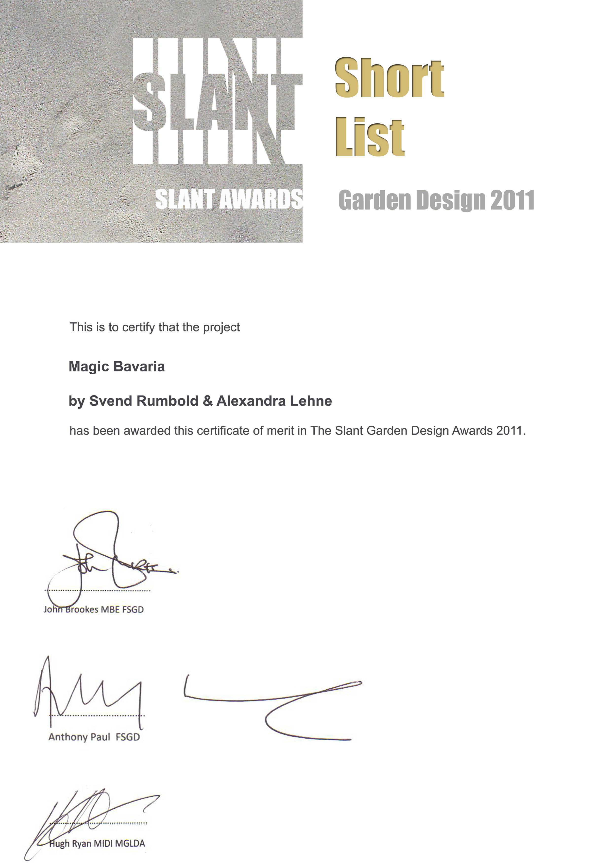 SLANT Garden Design Competition 2011