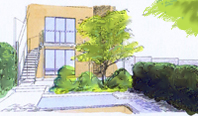 Garden designer Salisbury Wiltshire courtyard garden with water feature 2