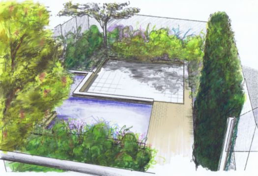 Garden designer Salisbury Wiltshire courtyard garden with water feature