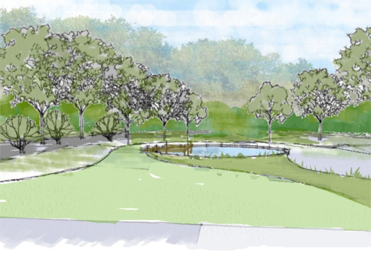 Country garden design in Sussex with water feature
