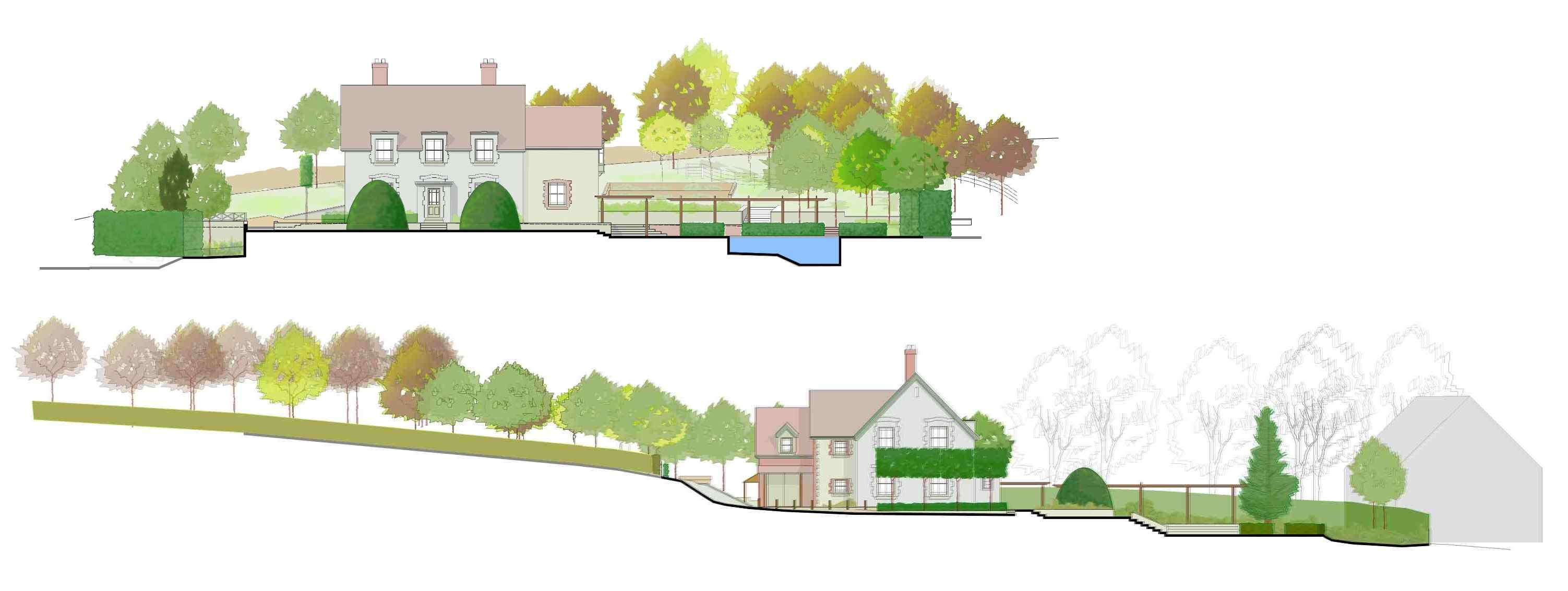 Views of a large country garden design near Shaftesbury Wiltshire