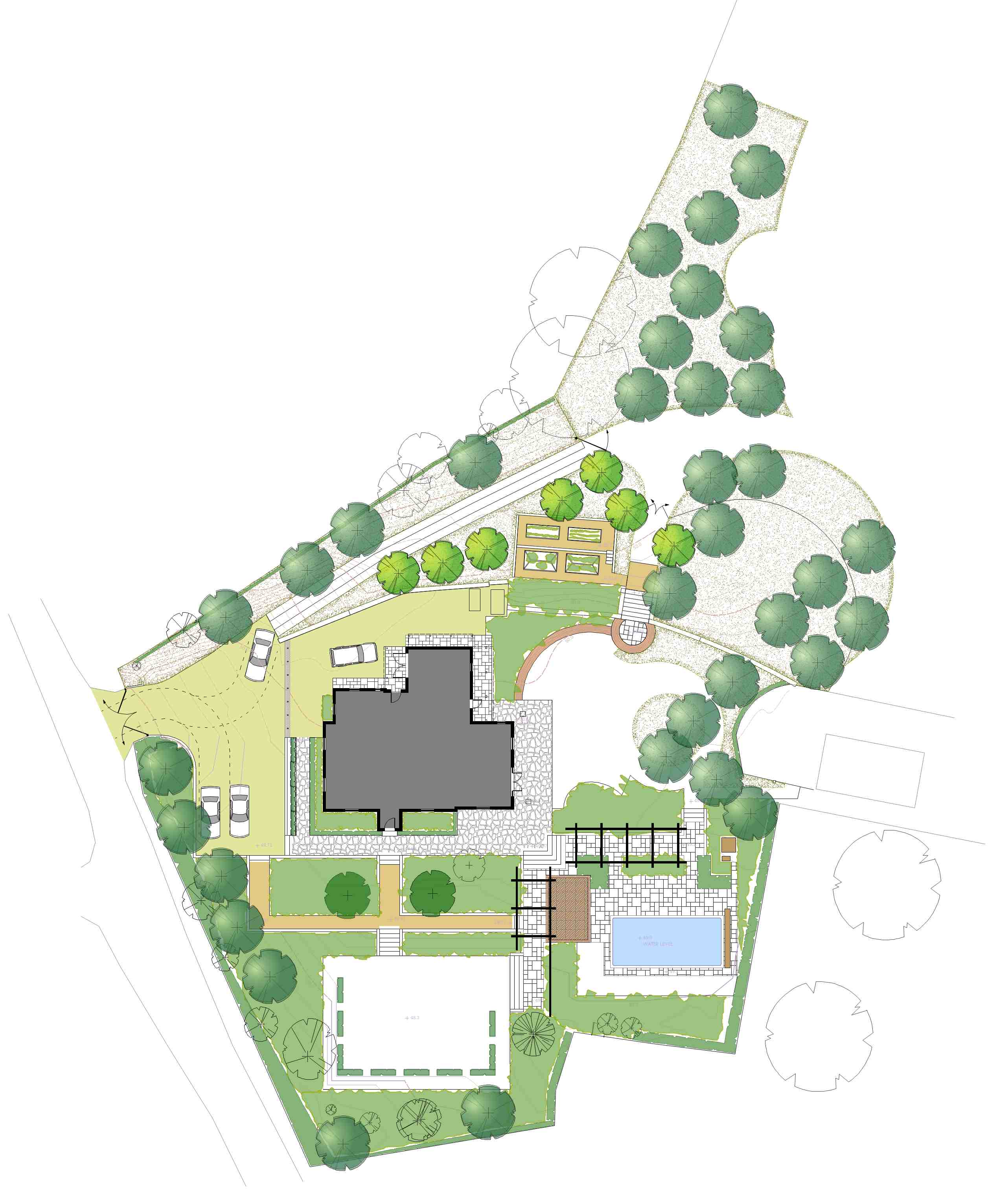 Plan of a large country garden design near Shaftesbury Wiltshire