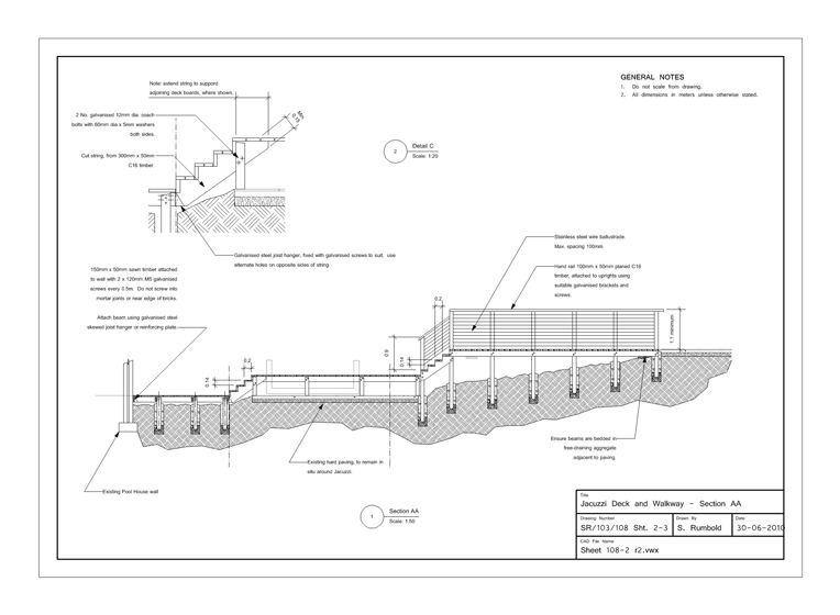 Garden design specifications and plans rumbold ayers for Drawing deck plans